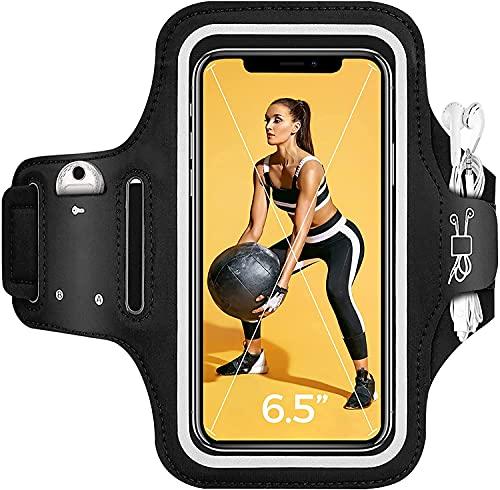 Laufarmband Handy Sportarmband für iPhone 12 11, Galaxy S20, Huawei bis zu 6,5'', rutschfestes Handy Armband mit Schlüssel- und Kopfhörerhalter, verstellbares Armband zum Laufen, Joggen, Fitness.
