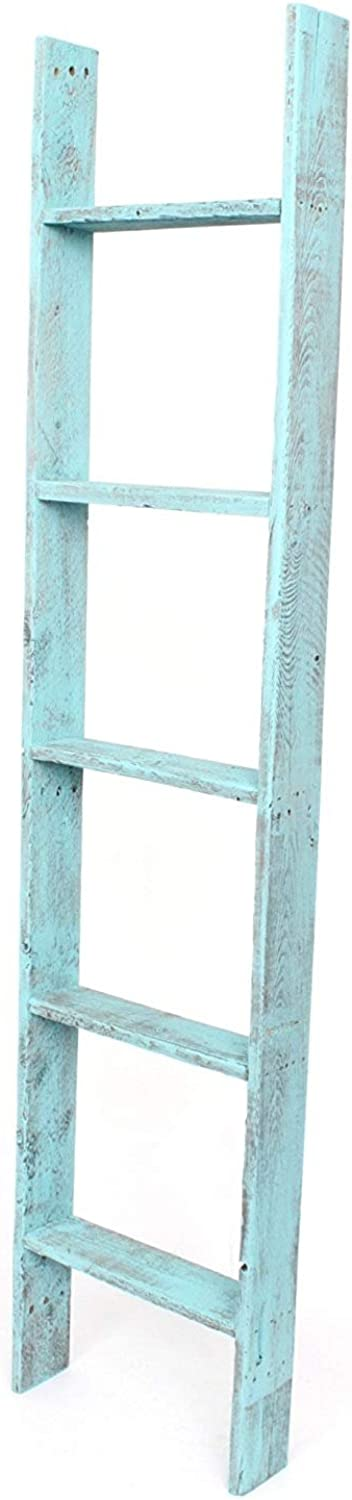 BarnwoodUSA Rustic Farmhouse Decorative Bookcase Ladder - Our 5 ft Ladder can be Mounted Horizontally or greenically and is Crafted From 100% Recycled and Reclaimed Wood   No Assembly Required   Turquoise