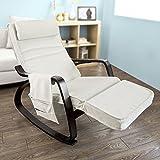 SoBuy® FST20-W Eponge plus épais!! Fauteuil à bascule berçante relax avec repose-pieds réglable et pochette latérale amovible, Rocking Chair Bouleau Flexible