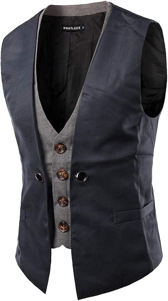 MODOQO Men's V-Neck Slim Fit Sleeveless Business Office Dress Suit Vest Waistcoat