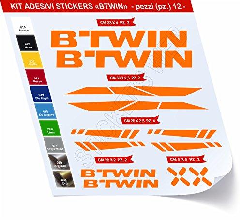 Adesivi Bici BTWIN_Kit 2_ Kit Adesivi Stickers 12 Pezzi -Scegli SUBITO Colore- Bike Cycle pegatina cod.0480 (Arancione cod. 035)