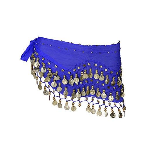 LUOEM Damen Bauchtanz Gürtel, Chiffon Hüfttuch, Tanztuch mit Münzen für Bauchtanz (Blau)