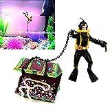 Hunter Treasure Figure Action Fish Tank Ornament Landscape Decor Nontoxic Aquarium Unique Design