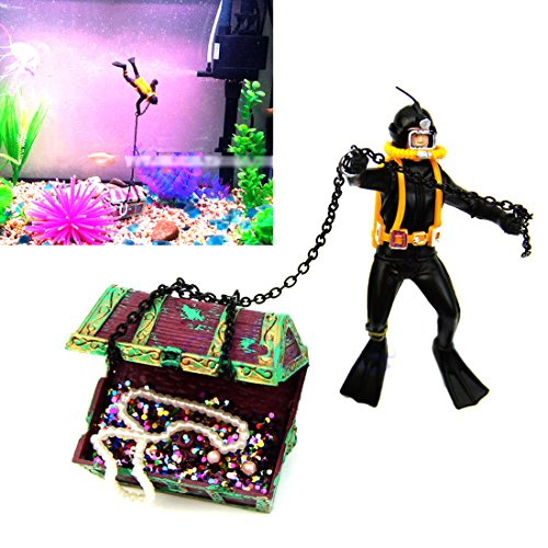 Hunter Treasure Figure Action Fish Tank Ornament Landscape Decor Nontoxic Aquarium Unique Design