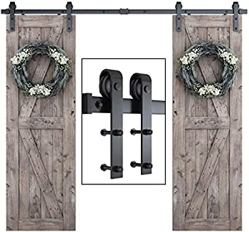 SmartStandard 8FT One-Piece Track Double Sliding Barn Door Hardware Kit - Smoothly and Quietly - Easy to Install -Includes Step-by-Step Installation Instruction - Fit 48  Split Door Panel  J Shape