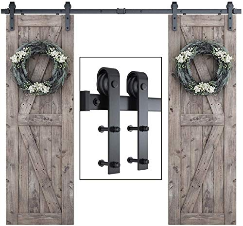 SmartStandard 8FT One-Piece Track Double Sliding Barn Door Hardware Kit - Smoothly and Quietly -...