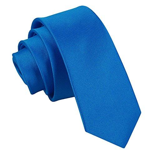 DQT Hombres Llano Satén Boda Estrecha Corbata Azul Eléctrico
