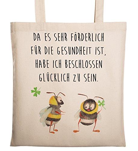 Mr. & Mrs. Panda Baumwolltasche, Tasche, Tragetasche Hummeln mit Kleeblatt mit Spruch - Farbe Transparent