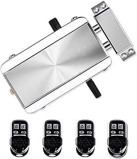 電子錠スマート, ワイヤレスリモートコントロールドアロッ, ロック スマートキー 鍵穴のない 盗難防止 オートロックリモコン 防犯 玄関ドア 4つのリモコン付き(従来の,銀)