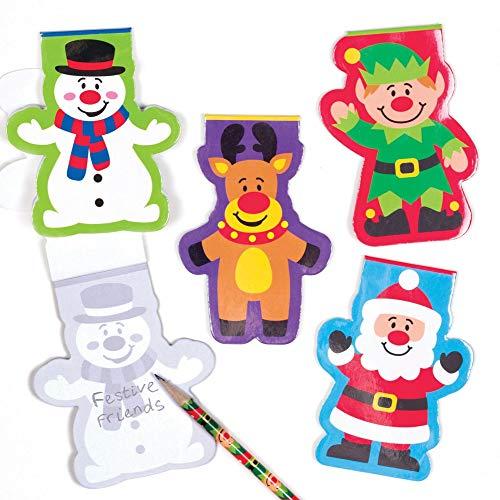 Baker Ross Blocs de notas de amigos festivos (paquete de 8) - Artes y manualidades navideñas, Azul ✅