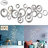 Mengger miroir murale adhesif autocollant Rond Feuilles Muraux flexible Stickers decoratif décoration salle de bain 72 Pièces Miroirs