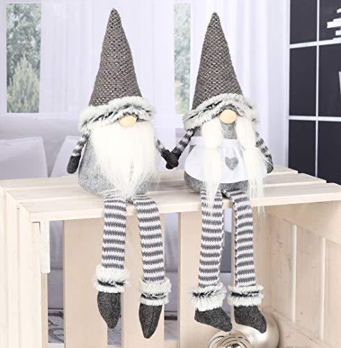 Weihnachtswichtel im 2er Set (Mann und Frau) - Wichtel sitzend 44cm Deko Weihnachtszeit
