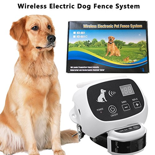 CarePetMost Wireless Electric Dog Fence System Outdoor Invisible Wireless Dog Fence Containment System 550YD Remote Control for All Size Dogs Rechargeable Waterproof Receiver Beep/shock/static Mode