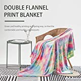 Colorful Throw Blanket, Rainbow Throw Blanket COCOPLAY W Super Soft Fuzzy Light Weight Luxurious Cozy Warm Microfiber Blanket for Bed Couch Living Room (Hot Pink Rainbow, Throw (50'x60'))