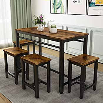 5 Pcs Dining Table Set Modern Bar Table Set with 4 Chairs Home Kitchen Breakfast Table and Chairs Set Ideal for Pub Living Room Breakfast Nook Easy to Assemble  Rustic Brown