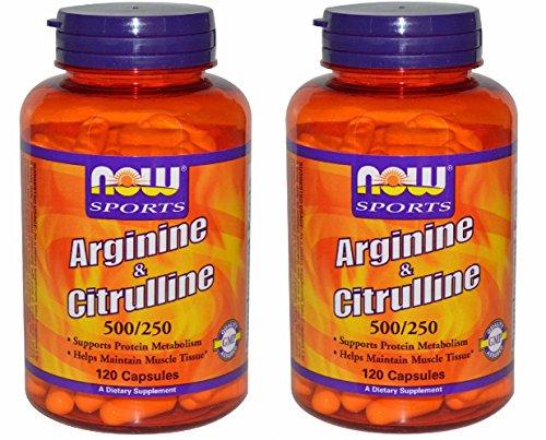 [海外直送品] 2本セット NOW FoodsLアルギニン 500mg & Lシトルリン 250mg 120粒入