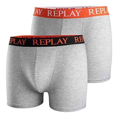 Replay Calzoncillos de marca para hombre, 2 unidades, estilo retro con logotipo de la marca en la cintura. Gris jaspeado/naranja. S