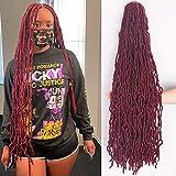 36 Inch New Faux Locs Crochet Hair Soft Locs Crochet Braids Hair 4 Packs/lot 180g Super Long Goddess Locs Dreadlocs Synthetic Hair Extend Pre Looped Burgundy Soft Locs Braiding Hair for Women (36 Inch, BUG#)