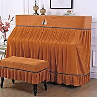 アップライト ピアノカバー トップカバー 標準直立型ピアノ用 ピアノ フルカバー 防塵カバー 北欧 シンプル 高級 上品 厚手 優雅 ピアノ掛け (ピアノカバー+椅子カバー(二人掛けタイプ),オレンジ)