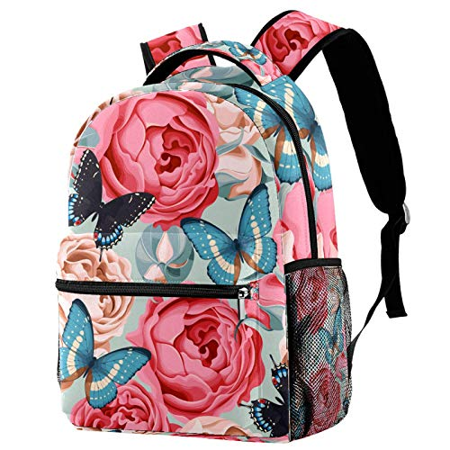 Rose with Butterfly Print Backpack for Teens School Book Bags Travel Casual Daypack