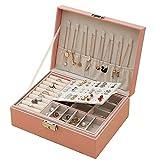LANL Nueva caja de almacenamiento de joyería de cuero de alta capacidad organizador de joyas estilo europeo