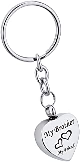 SG My Brother My Friend Pendant Cremation Urn Keychain Memorial Keepsake Ashes Jewelry with Free Engraved