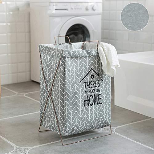Cesta de almacenamiento de lino y algodón, cesta plegable de tela, bolsa de almacenamiento de ropa sucia, color C
