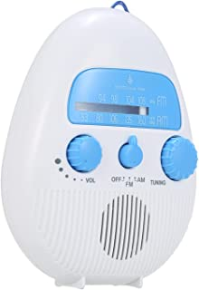 figatia Rádio portátil para chuveiro à prova d'água AM botão eletrônico com alça pendurado IPX4 para banheiro interno, coz...