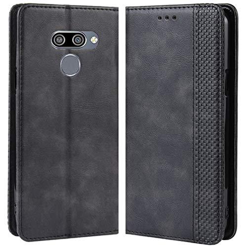 HualuBro Handyhülle für LG Q60 Hülle, LG K50 Hülle, Retro Leder Stoßfest Klapphülle Schutzhülle Handytasche LederHülle Flip Hülle Cover für LG Q60 / LG K50 Tasche, Schwarz