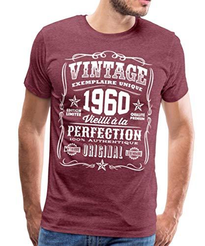 1960 Anniversaire 61 Ans Cadeau T-Shirt Premium Homme, M, Rouge Bordeaux chiné