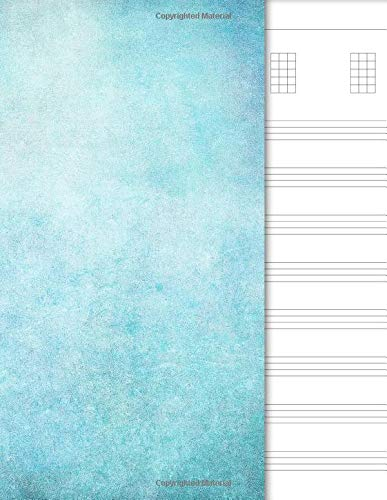 Ukulele Tab Notebook: 4 String Chord and Tablature Staff Music Paper for Ukulele Players, Musicians, Teachers and Students (8.5'x11' - 120 Pages), Blue Watercolor Cover