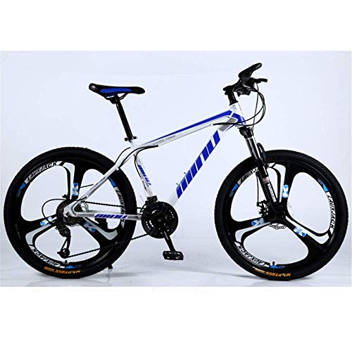 KAUTO 26'' Mountain Bike, MTB, High Carbon Steel Outroad Bicycles, 21/24/27/30 Speed Bicycle Full Suspension MTB Gears Dual Disc Brakes Mountain Bicycle Sport Cycling Road Bikes Exercise D 27 Speed