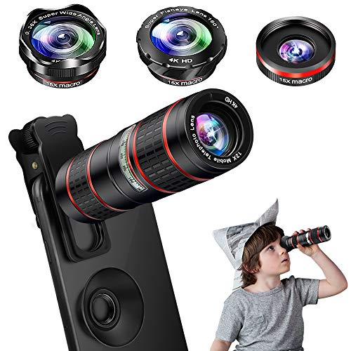 Phone Camera Lens Kit, 5 in 1 Cell Phone Lens - 12X Zoom Telephoto Lens + 0.36X Wide Angle Lens + 180