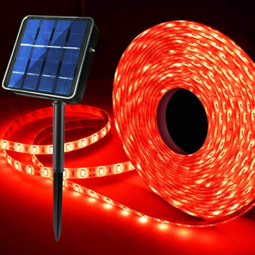 Upgraded Red Solar LED Strip Lights, 19.6ft 180 LED Strip Lights Solar Powered 8 Lighting Modes Waterproof Outdoor Accent Light for Terrace, Balcony, Garden, Patio Steps, Pergola, Courtyard