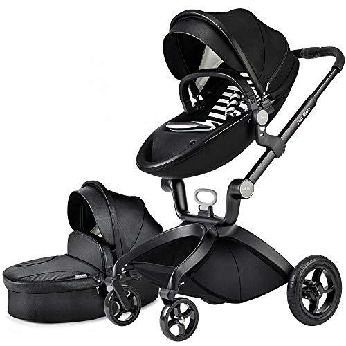 Cochecito de Bebe Hot Mom Cochecito y Sillas de paseo 3 en 1 con silla y el capazo, 2020 estilo de vida F22 asiento de carro extra comprable - Black