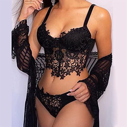 Dasongff Damen Spitzen Push Up BH Unterwäsche Dessous Sets Sexy Erotische Reizwäsche Bra und Slip Stickerei Unterwäsche und Slip Set Push Up Bra (A-Schwarz, S)