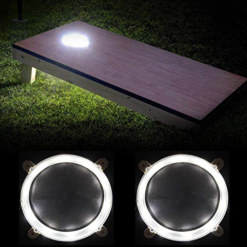 Cornhole Light Set of 2, 6' Corn Hole Board Lamp with Super Bright LED Lights Includes Screws - Easy Mounting in Minutes, Allow You to Play Your Bean Bag Toss Game for Hours After Dark (White)