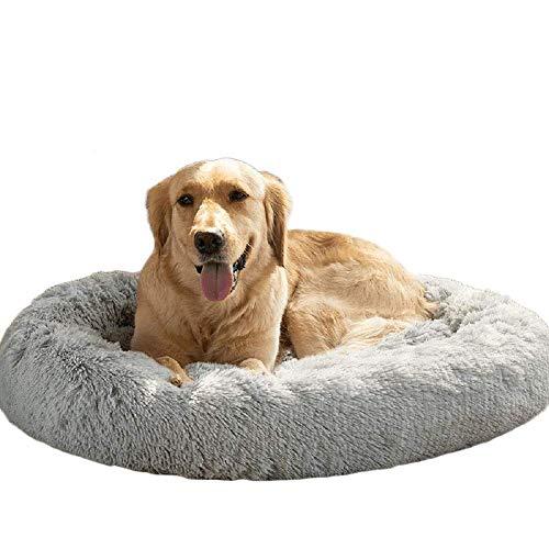 KongEU Deluxe weich Hundebett Sofa waschbar Rundes Plüsch Hundekissen Katzenbett in Doughnut-Form für große und extra große Hunde,Wasserfeste Unterseite-XXL:120CM-Grau