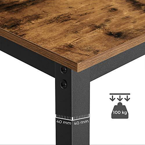 VASAGLE Bartisch-Set, Stehtisch mit 2 Barhockern, Küchentresen mit Barstühlen, Küchentisch und Küchenstühle im Industrie-Design, für Küche, 120 x 60 x 90 cm, vintagebraun-schwarz LBT15X - 8