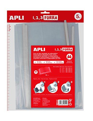 APLI 16914 - Forro de libros con solapa ajustable de polipropileno. Medida 30 x 53 cm, 75 µ. Pack de 5 u.