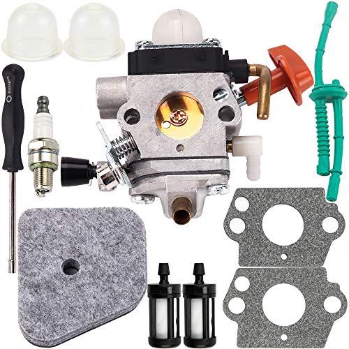 Carburetor Air Filter Spark Plug Carb Adjustment Tool Tune Up Parts Kit for Stihl FS87 FS90 FC95 FS100 FS110 HL100 HL90 KM90R String Hedge Trimmer Weedeater FS110RX Weed Eater Engine