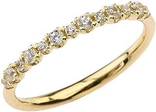 Elegant Modern 10k Yellow Gold CZ Engagement/Wedding Ring