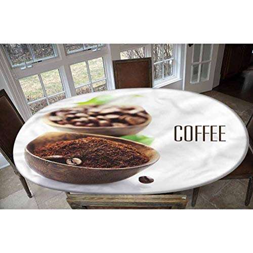 LCGGDB Coffee Elastic Edged Polyester Fitted Tablecolth -Ground Coffe Wooden Bowl- Oval/Olbong Fitted Table Cover - Fits Oval/Olbong Tables up to 48'x78',The Ultimate Protection for Your Table