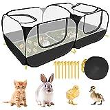 SlowTon Laufstall für Kleintiere, tragbarer großer Hühnerstall mit atmungsaktiven transparenten Maschenwänden Faltbares Haustierkäfigzelt ohne Boden mit 4 Reißverschlusstüren Welpen-Kätzchen-Kaninchen