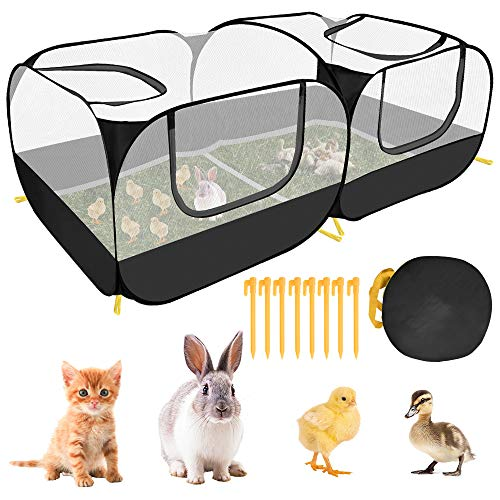 AUTOWT Small Animals Playpen, Portable Large Chicken Run Coop with Breathable Transparent Mesh Walls Foldable No Bottom Pet Cage Tent with 4 Zipper Doors for Puppy Kitten Rabbits Outdoor Yard (Black)