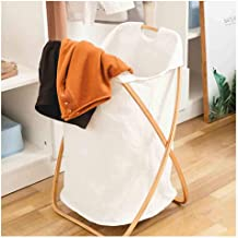 Foldable Bamboo Laundry Hamper basket - Wooden X Frame Dirty Clothes Storage Bags for Bathroom Bedroom Home,White