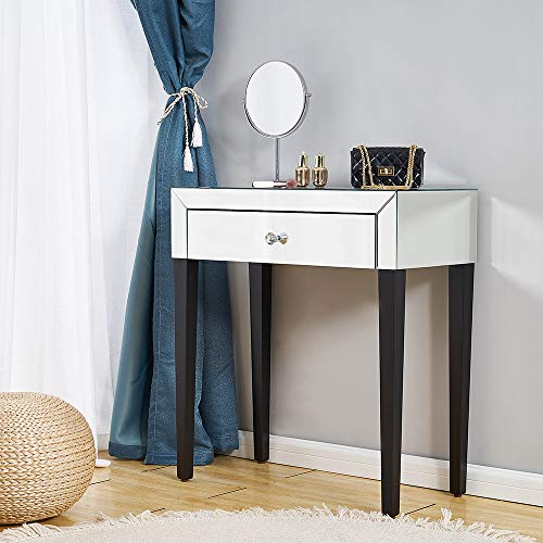 PananaHome Mirrored Dressing Table Small Glass Cosmetic Bedside Table Makeup Vanity Dresser Set with Drawer Console Desk Dresser Bedroom Furniture