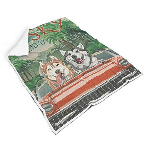 Rinvyintte Husky Urlaub Weich Verschiedene Muster Fuzzy-Decke für Sofa Fühlen Sie Sich gut für Kinder Sonnenscheinstil White 150x200cm