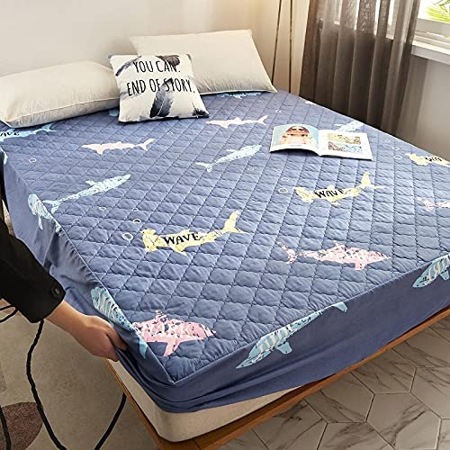XGguo Protector de colchón Acolchado - Microfibra - Transpirable - Funda para colchon estira hasta Impresión de una Sola Pieza de sábana Impermeable-6_120 * 200cm