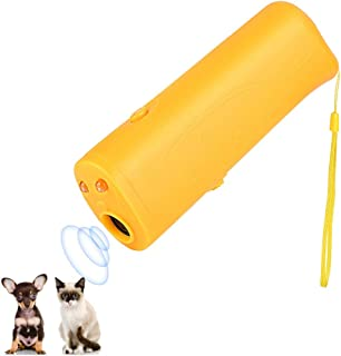 Ultrasonic Dog Repeller and Trainer Device 3 in 1 LED Pet Anti Barking Stop Bark Handheld - Yellow